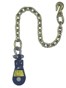 "Yoke Snatch Block W/Swivel Shackle& 30"" Chain& Grab Hk, 3"" 2T"