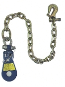 "Yoke Snatch Block W/Swivel Shackle& 30"" Chain& TL Grab Hk, 3"" 2T"
