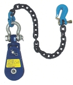 "Yoke Snatch Block W/Swivel Shackle& 30"" Chain& TL Grab Hk, 4T"