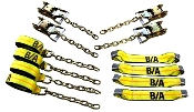 "Heavy Duty Roll Back Tie-Down System With Chain Ends; 3"" Straps"
